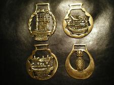 4 Vintage Brass Horse Saddle Harness Medallion Ornament.