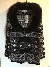 NEW - Valleygirl  Cardigan - Size S , Black and white with fur collar