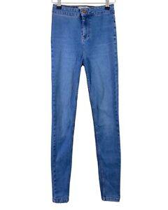 NEW LOOK light blue stonewash high waist skinny stretch jeans size 10