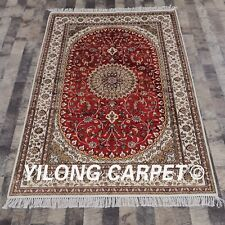 YILONG 4'x6' Red Handmade Carpets Indoor Hand Knotted Classic Silk Rugs Y285C