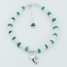 silver bracelet 925 silver turquoise gemstone & pearl beads dolphin charm