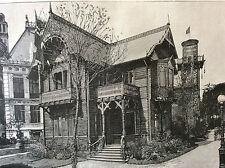 Exposition Universelle Paris 1889 le chalet norvégien estampe Hauser