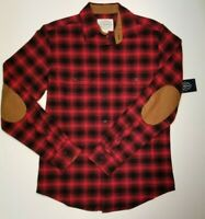 St Johns Bay Mens Long Sleeve Flannel Red Plaid Corduroy Small NWT MSRP $50