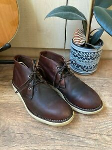 RED WING 3141 Brown Leather Chukka Ankle Boots - Size 7 UK / HANDMADE IN USA