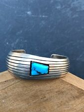 Navajo Modernist Sterling Turquoise Cuff Bracelet LeRoy Thomas White Hogan 1960s
