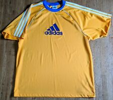 VTG RARE 90s ADIDAS Yellow Knit Soccer Jersey Felt 3-Stripes Sz L EUC USA MADE