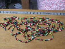 "Vintage Mercury Glass Bead Christmas Tree Garland Multi Color Dumbbells 236"""