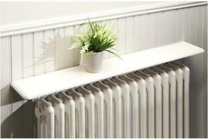Greenhurst Radiator Wooden Wall Shelf, White 90cm