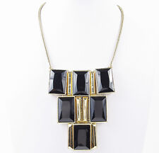 KENNETH COLE New York Jet Black Faceted Gold-Tone Frontal Necklace $95