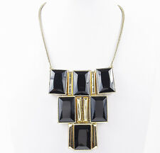 $95 Kenneth Cole New York Jet Black Faceted Gold Tone Frontal Necklace $95 NEW