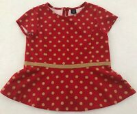 Baby Gap Toddler Girls Size 5 Red Tan Polka Dot Short Sleeve Top Shirt