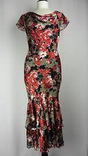 - Precis Peite Size 12 Cocktail Dress Silk Devore Bias-cut 30's Style Red
