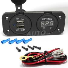 NEW 12V Car Motorcycle 2x USB Charger Adapter Socket Voltmeter FOR IPHONE 6S /7