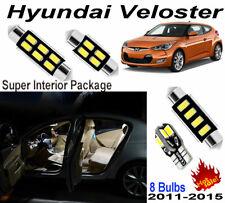 8pcs Super White 6000K LED Car Interior Light Kit For Hyundai Veloster 2011-2015