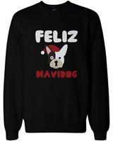Feliz Navidog Christmas Sweatshirt Funny French Bulldog X-Mas Pullover Sweater