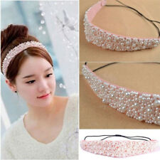 Chic Pink Pearl Beads Crystal Headband Hairband Elastic Hair Head Band For Girls