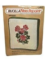 Bucilla Needlepoint Crewel Kit Geraniums Decorator Square Box Pillow 4817 Vtg