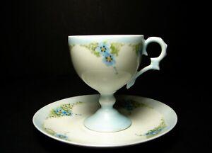 Limoges France Hand Painted Porcelain Footed Demitasse Cup & Saucer artist sign.