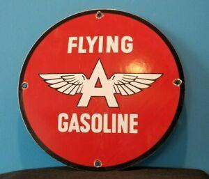 VINTAGE FLYING A GASOLINE PORCELAIN GAS SERVICE STATION PUMP AVIATION AD SIGN