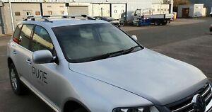 VW TOUAREG 2003-2009 ALUMINIUM ANTI THEFT ROOF RAIL BARS RACK + CROSS BARS GREY
