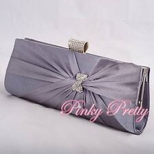 Grey Gray Satin Diamonte Evening Clutch Handbag Bag Wedding Party Prom BG019