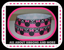 "7/8"" MINNIE MOUSE WITH HOT PINK POLKA DOT WITH ZEBRA GROSGRAIN RIBBON- 1 YARD"