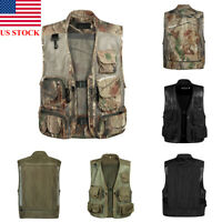 US Fishing Vest Mesh 14 Pockets Hunting Photography Quick Dry Waistcoat Jackets