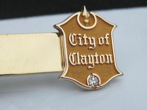 Vintage Mens 10K Gold & Diamond City of Clayton St. Louis Mo. Tie Bar Clip