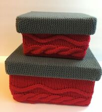 Holiday Gift Box Pair Handmade Crochet Knit Red Gray Christmas Wrap Packaging