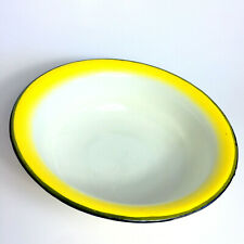 "Vintage Enamel Ware Basin Wash Bowl 9"" Farm House White Yellow Black Trim Marked"