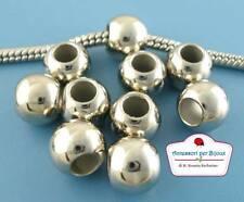 8 Perle Sfera Satinato Tono Argento Foro Largo 9mm