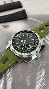 Vintage Eastman Super De Luxe SEAWATCH World Time Dive Watch Swiss Made RARE