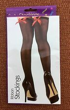 Perfect Moments Black Party Stockings With Red Ribbon Tops, BNWT, One Size Reg