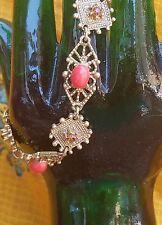 Vintage gold tone Florenza bracelet coral red plastic & rhinestones