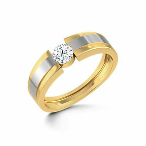 0.50 Ct Real Diamond Wedding Ring 14K Double Tone Yellow Gold Mens Band All Size