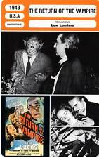 FICHE CINEMA : THE RETURN OF THE VAMPIRE - Lugosi,Inescort,Foch,Landers 1943