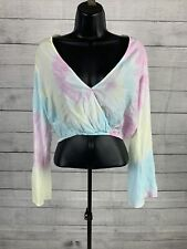 Forever 21 Rainbow Tie Dye Crop Top Long Sleeve Blouse Womens Size Small Hippie
