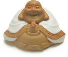 Tea Pet Decoration Laughing Buddha Palms Together for Luck Clay Figure