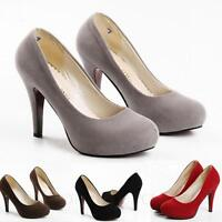 ladies party Wedding Office Fashion Womens Suede Pumps High Heel Shoes Size