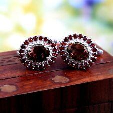 Natural Garnet Gemstones With 925 Sterling Silver Cufflinks For Men's