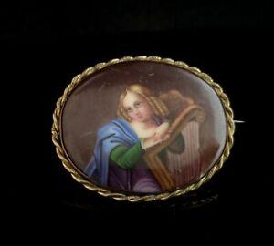 Antique porcelain portrait brooch, 19th century, enamelled