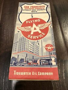1961 San Francisco Street Road Map by Flying A Service Tidewater Oil Company