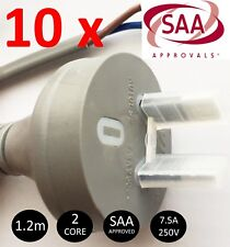 10 x PREMIUM 2 Core 2 Pin Electrical Flex Plug and Lead AC Cable 1.2M 240V 10A
