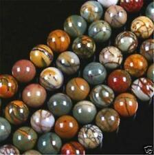 6MM PICASSO JASPER STONE ROUND BALL LOOSE BEAD 15""