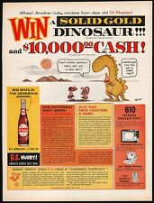 Vintage magazine ad DR PEPPER from 1962 Solid Gold Dinosaur Johnny Hart cartoon