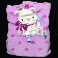 Taggies Purple Cat Kitty Cheetah Baby Blanket Bow Velour Fleece Jungle
