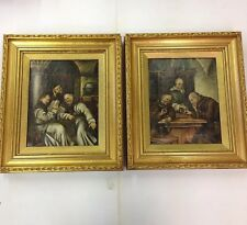 Antique Pair Of Humorous Oils On Canvas Of Monks Both Signed Interior Scenes