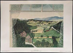 """GRANDMA MOSES 1948 COLOR LITHOGRAPH """"HOOSICK FALLS"""" 20"""" X 14"""" UNFRAMED"""