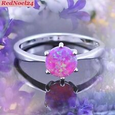 Triumphant Petite Fiery Soft Round Pink Opal 925 Stamped Silver Size 8 - P