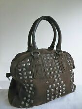 Large Liebeskind Brown Leather Studs Punk Hipster Shopper Tote travel blogger